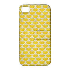 Scales3 White Marble & Yellow Colored Pencil Apple Iphone 4/4s Hardshell Case With Stand by trendistuff