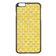 Scales3 White Marble & Yellow Colored Pencil Apple Iphone 6 Plus/6s Plus Black Enamel Case