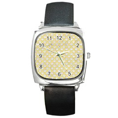 Scales2 White Marble & Yellow Colored Pencil (r) Square Metal Watch by trendistuff