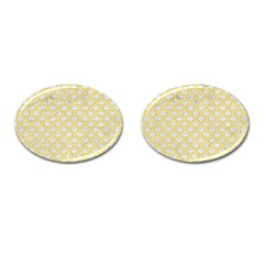 Scales2 White Marble & Yellow Colored Pencil (r) Cufflinks (oval) by trendistuff