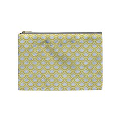 Scales2 White Marble & Yellow Colored Pencil (r) Cosmetic Bag (medium)  by trendistuff