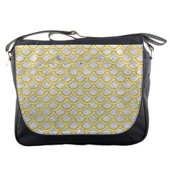 Scales2 White Marble & Yellow Colored Pencil (r) Messenger Bags by trendistuff