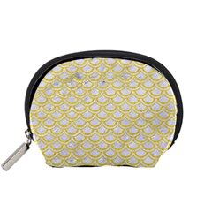 Scales2 White Marble & Yellow Colored Pencil (r) Accessory Pouches (small)  by trendistuff