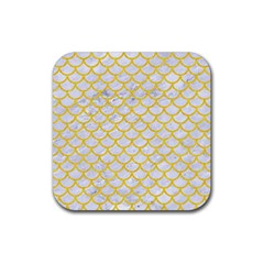 Scales1 White Marble & Yellow Colored Pencil (r) Rubber Square Coaster (4 Pack)  by trendistuff