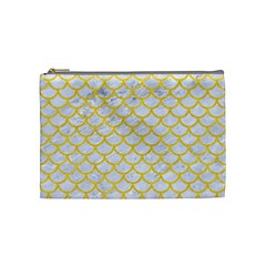 Scales1 White Marble & Yellow Colored Pencil (r) Cosmetic Bag (medium)  by trendistuff