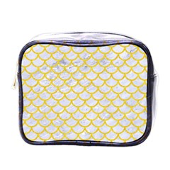 Scales1 White Marble & Yellow Colored Pencil (r) Mini Toiletries Bags by trendistuff