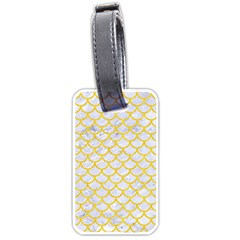 Scales1 White Marble & Yellow Colored Pencil (r) Luggage Tags (two Sides) by trendistuff