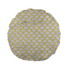 Scales1 White Marble & Yellow Colored Pencil (r) Standard 15  Premium Flano Round Cushions by trendistuff