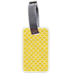 Scales1 White Marble & Yellow Colored Pencil Luggage Tags (two Sides) by trendistuff