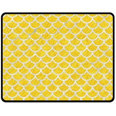 Scales1 White Marble & Yellow Colored Pencil Double Sided Fleece Blanket (medium)  by trendistuff
