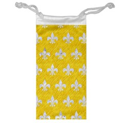 Royal1 White Marble & Yellow Colored Pencil (r) Jewelry Bag by trendistuff