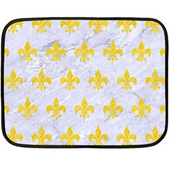 Royal1 White Marble & Yellow Colored Pencil Fleece Blanket (mini) by trendistuff