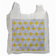 Royal1 White Marble & Yellow Colored Pencil Recycle Bag (one Side) by trendistuff