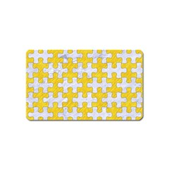 Puzzle1 White Marble & Yellow Colored Pencil Magnet (name Card) by trendistuff