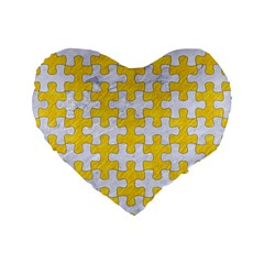 Puzzle1 White Marble & Yellow Colored Pencil Standard 16  Premium Heart Shape Cushions by trendistuff