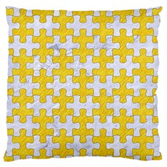 Puzzle1 White Marble & Yellow Colored Pencil Standard Flano Cushion Case (one Side) by trendistuff
