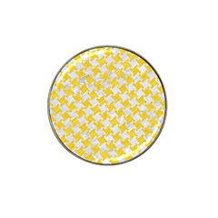 Houndstooth2 White Marble & Yellow Colored Pencil Hat Clip Ball Marker by trendistuff