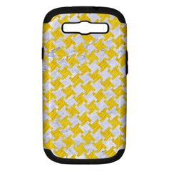 Houndstooth2 White Marble & Yellow Colored Pencil Samsung Galaxy S Iii Hardshell Case (pc+silicone) by trendistuff