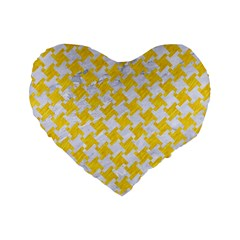 Houndstooth2 White Marble & Yellow Colored Pencil Standard 16  Premium Heart Shape Cushions by trendistuff