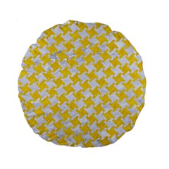 Houndstooth2 White Marble & Yellow Colored Pencil Standard 15  Premium Flano Round Cushions by trendistuff