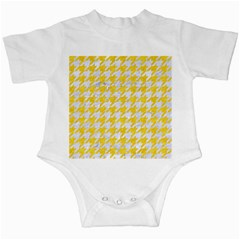 Houndstooth1 White Marble & Yellow Colored Pencil Infant Creepers by trendistuff