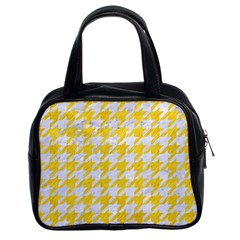 Houndstooth1 White Marble & Yellow Colored Pencil Classic Handbags (2 Sides) by trendistuff