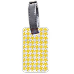 Houndstooth1 White Marble & Yellow Colored Pencil Luggage Tags (two Sides) by trendistuff