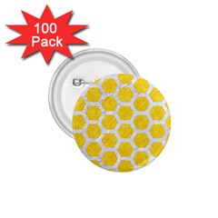 Hexagon2 White Marble & Yellow Colored Pencil 1 75  Buttons (100 Pack)  by trendistuff