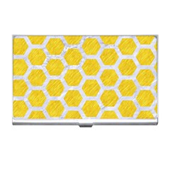 Hexagon2 White Marble & Yellow Colored Pencil Business Card Holders by trendistuff