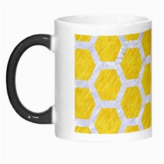 Hexagon2 White Marble & Yellow Colored Pencil Morph Mugs by trendistuff