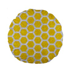 Hexagon2 White Marble & Yellow Colored Pencil Standard 15  Premium Flano Round Cushions by trendistuff