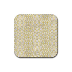 Hexagon1 White Marble & Yellow Colored Pencil (r) Rubber Square Coaster (4 Pack)  by trendistuff