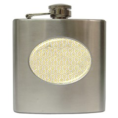 Hexagon1 White Marble & Yellow Colored Pencil (r) Hip Flask (6 Oz) by trendistuff
