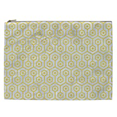 Hexagon1 White Marble & Yellow Colored Pencil (r) Cosmetic Bag (xxl)  by trendistuff