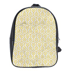 Hexagon1 White Marble & Yellow Colored Pencil (r) School Bag (xl) by trendistuff
