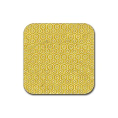 Hexagon1 White Marble & Yellow Colored Pencil Rubber Square Coaster (4 Pack)  by trendistuff