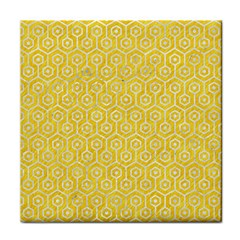 Hexagon1 White Marble & Yellow Colored Pencil Face Towel by trendistuff