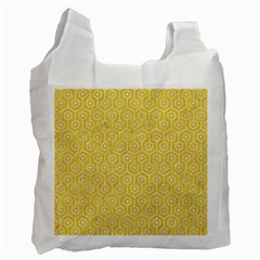Hexagon1 White Marble & Yellow Colored Pencil Recycle Bag (two Side)  by trendistuff