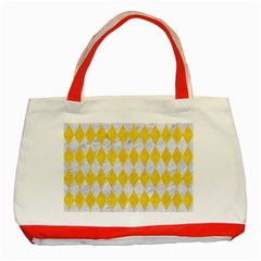 Diamond1 White Marble & Yellow Colored Pencil Classic Tote Bag (red) by trendistuff