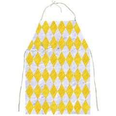 Diamond1 White Marble & Yellow Colored Pencil Full Print Aprons by trendistuff
