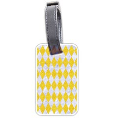 Diamond1 White Marble & Yellow Colored Pencil Luggage Tags (one Side)  by trendistuff