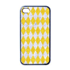 Diamond1 White Marble & Yellow Colored Pencil Apple Iphone 4 Case (black) by trendistuff