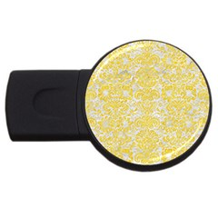 Damask2 White Marble & Yellow Colored Pencil (r) Usb Flash Drive Round (4 Gb) by trendistuff