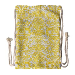 Damask2 White Marble & Yellow Colored Pencil (r) Drawstring Bag (large) by trendistuff