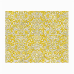 Damask2 White Marble & Yellow Colored Pencil Small Glasses Cloth by trendistuff