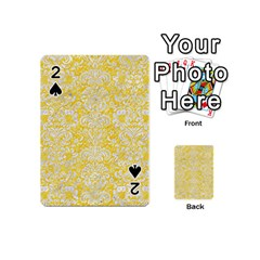 Damask2 White Marble & Yellow Colored Pencil Playing Cards 54 (mini)  by trendistuff