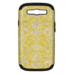 Damask2 White Marble & Yellow Colored Pencil Samsung Galaxy S Iii Hardshell Case (pc+silicone) by trendistuff