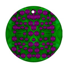 The Pixies Dance On Green In Peace Ornament (round) by pepitasart
