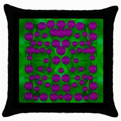 The Pixies Dance On Green In Peace Throw Pillow Case (black) by pepitasart