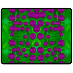 The Pixies Dance On Green In Peace Fleece Blanket (medium)  by pepitasart